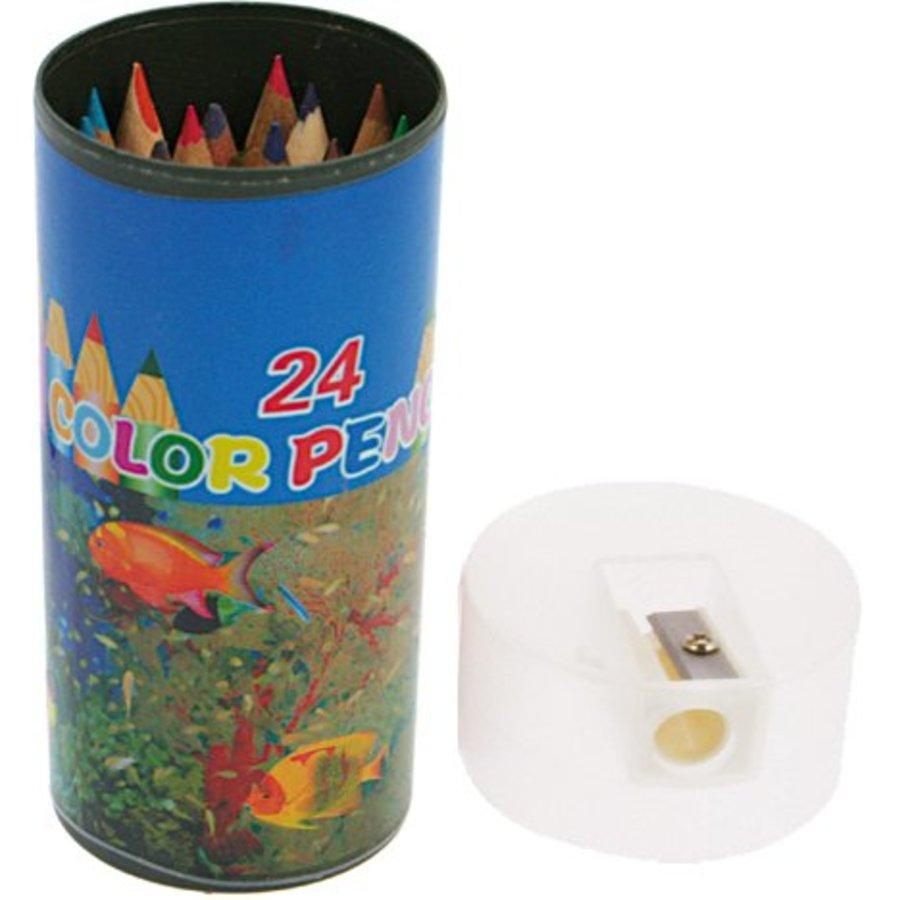 Buntstifte 24 Stück und Farben in Aufbewahrungsbox mit Anspitzer 10,5x4,5cm