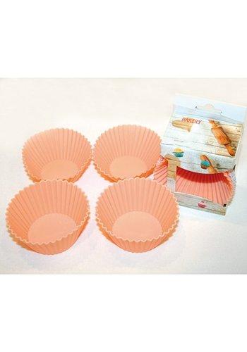 Neckermann Bakvormen siliconen set van 4, elk 7,5x 6,5cm,
