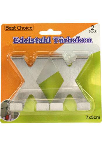 Best Choice Deurhaak roestvrij staal 2 x 7x5cm X-vormig op kaart
