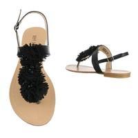 Damen Sandalen mit Rüschen - schwarz