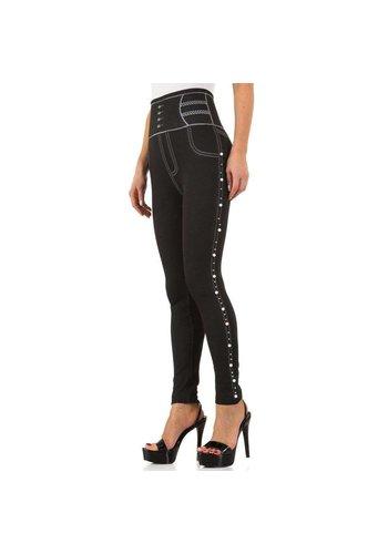 FASHION DESIGN Damen Leggings mit Denim Print Gr. eine Größe - schwarz