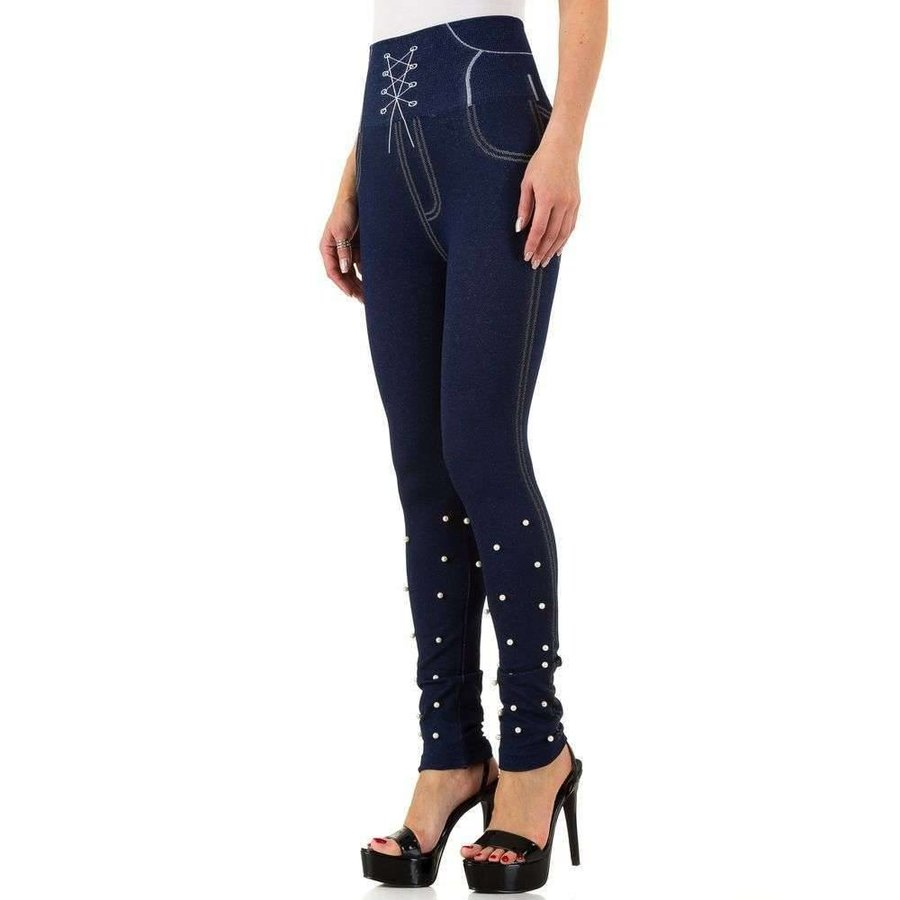 Damen Leggings mit Denim Print Gr. eine Größe - blau