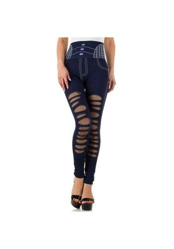 FASHION DESIGN Damen Leggings mit Denim Print Gr. eine Größe - blau