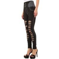 Damen Leggings mit Denim Print Gr. eine Größe - schwarz