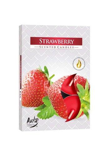Aura Teelichter mit Duft Erdbeere - 6 Stück - Luxusverpackung