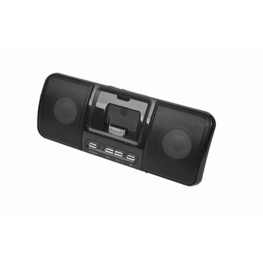 Draagbare speaker met universeel docking station voor iPod en iPhone