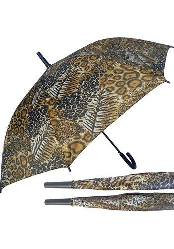 Paraplu 110cm automatische luipaardlook