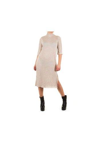 SHK MODE Dames Jurk door Shk Mode one size fits all maat - beige