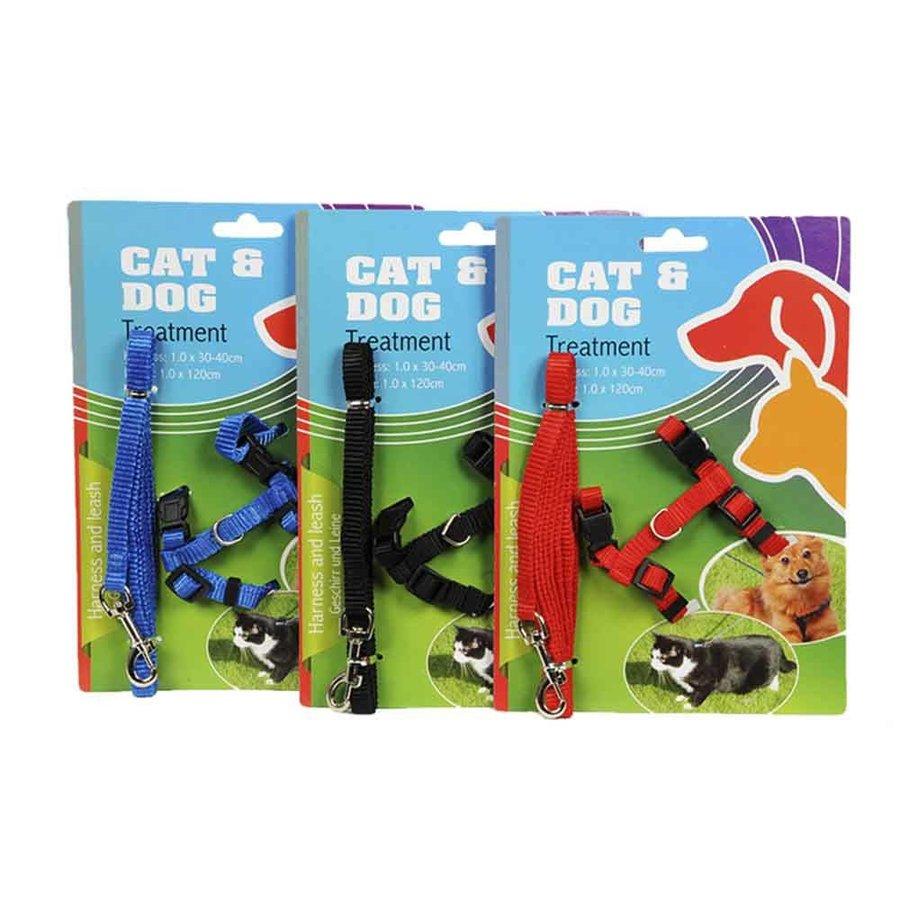 Puppy-katten harnas - 30-40 cm - riem 120 cm - assorti