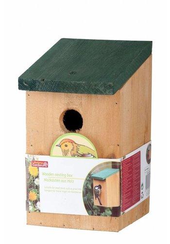 Lifetime Garden Vogelhuis met groen dak - hout - 22 cm