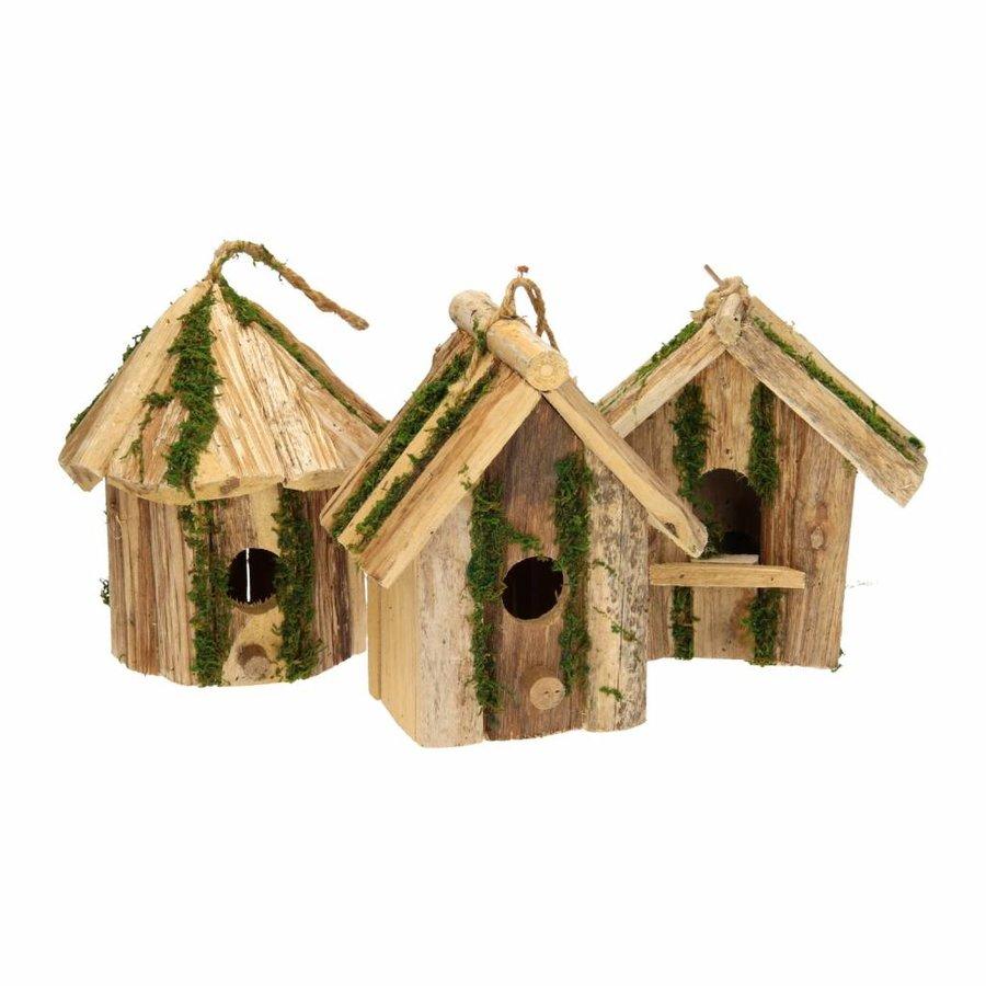 Vogelhuis van hout - 19x11x20 cm - assorti