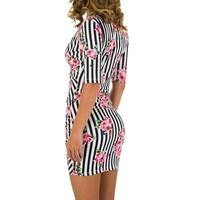 Damen Kleid mit Dreiviertelärmeln - pink