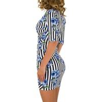 Damen Kleid mit Dreiviertelärmeln - blau