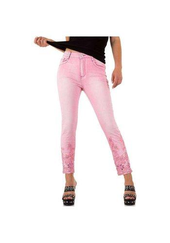 Mozzaar Dames Jeans met kante onderkant - fel roze