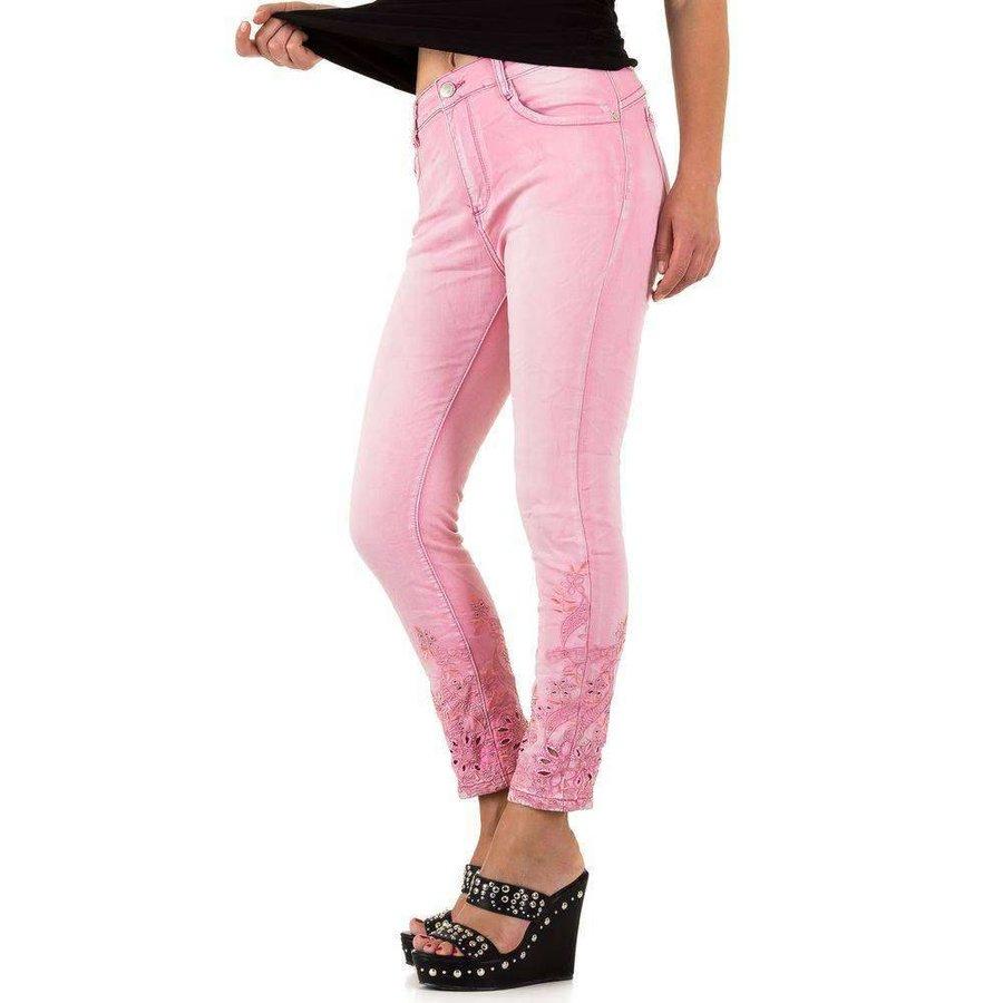 Damen Jeans mit Spitzenbund - leuchtend rosa