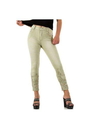 Mozzaar Dames Jeans met kante onderkant - L.groen