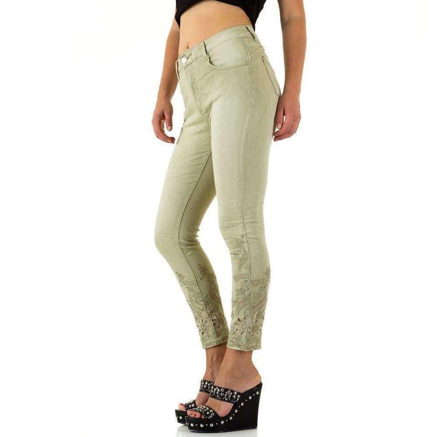 Damen Jeans mit Spitzenboden - L.groen