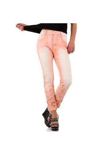 Mozzaar Damen Jeans mit Spitzenboden - pink