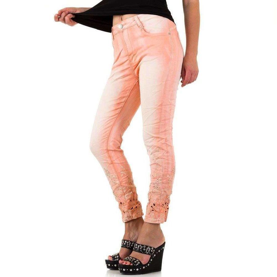 Damen Jeans mit Spitzenboden - pink