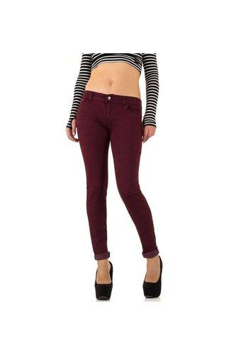 HELLO MISS Damen Jeans - weinrot