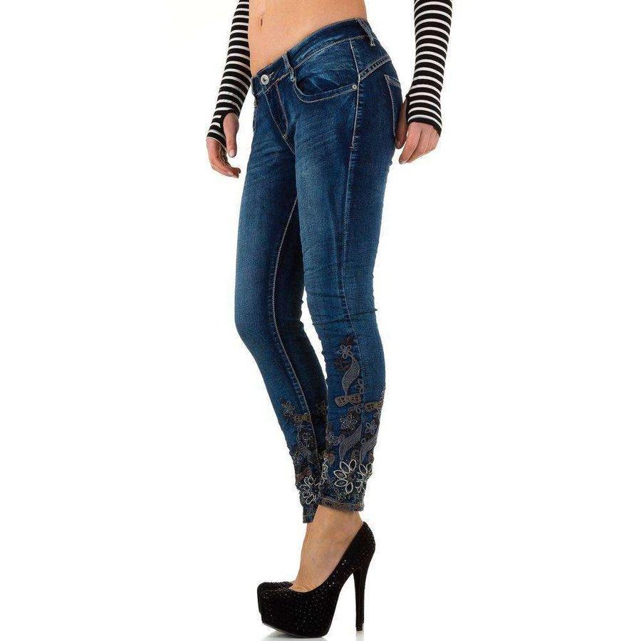 Damen Jeans mit Spitzenbund - dk. blau