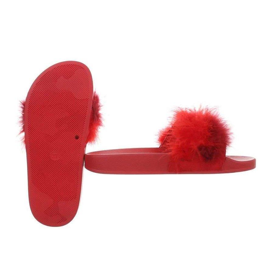 Damen Hausschuhe mit Daunen - rot