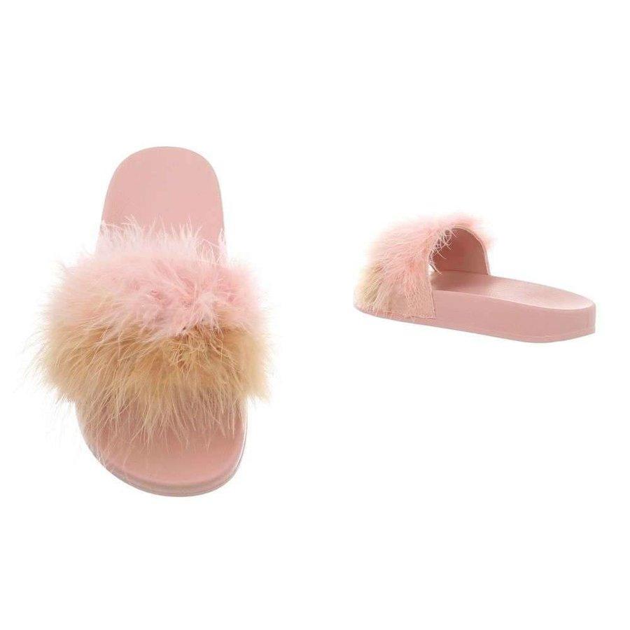 Damen Hausschuhe mit Daunen - pink