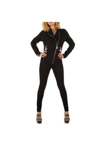 ORIGINAL DENIM Damen Overall mit schrägem Reißverschluss - schwarz