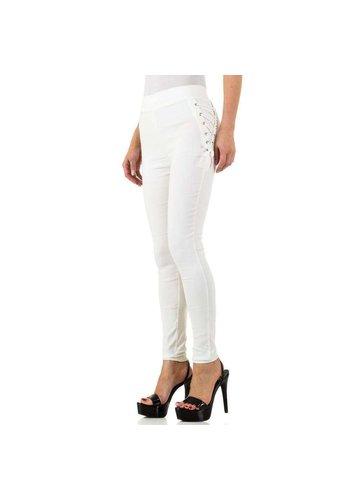 HOLALA Dames legging met geveterde zijkant - wit