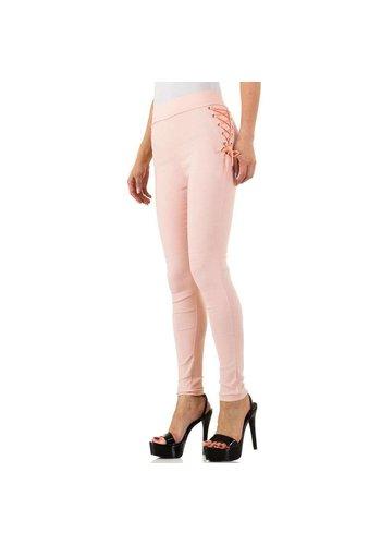 HOLALA Dames legging met geveterde zijkant - roze