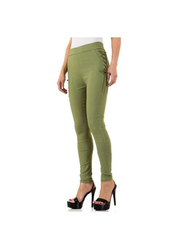 HOLALA Dames legging met geveterde zijkant - groen