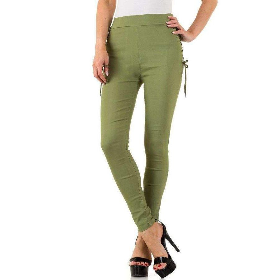 Damen Leggings mit Schnürung - grün