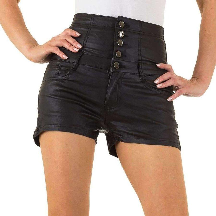 Hohe Damen Shorts - schwarz