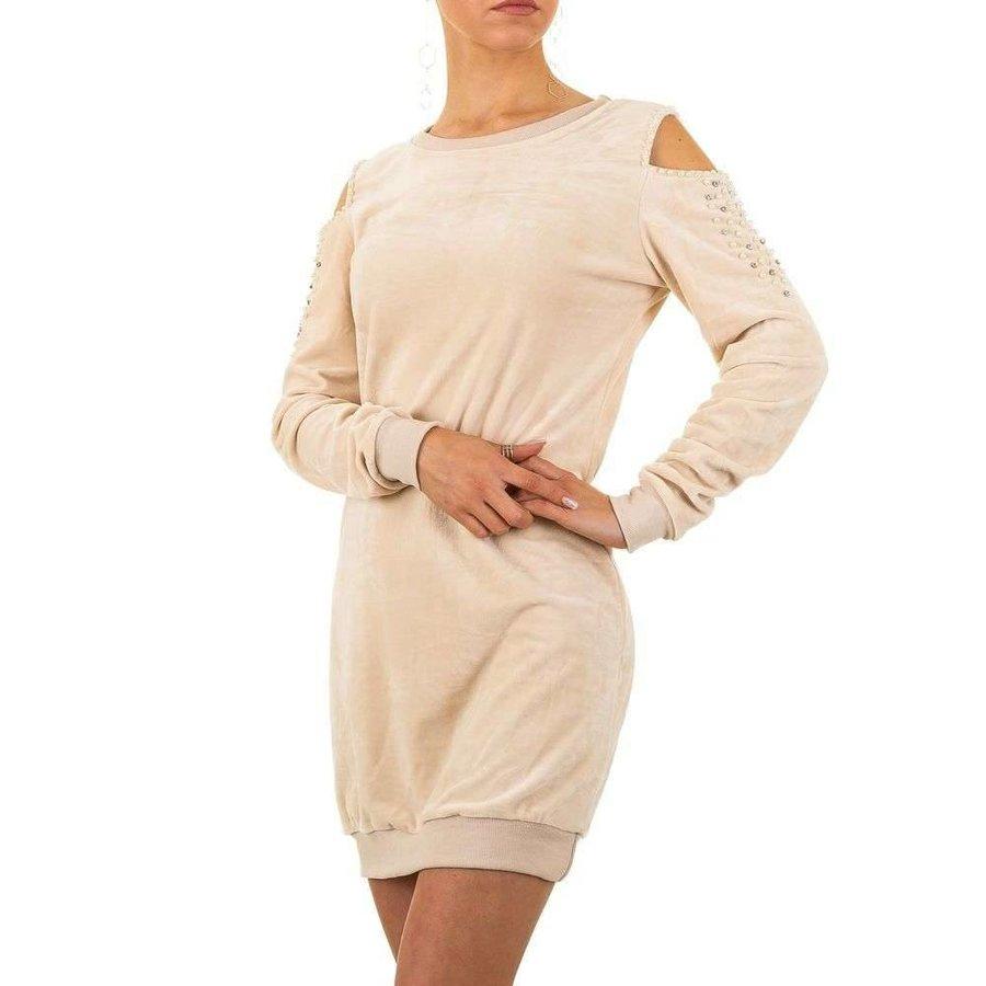 Damen Kleid mit nackten Schultern - beige