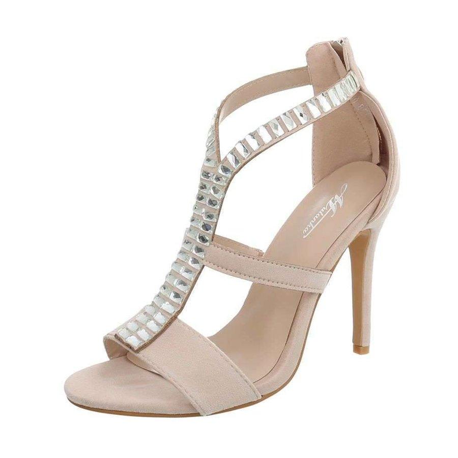 Damen High Heels mit Steinen - beige