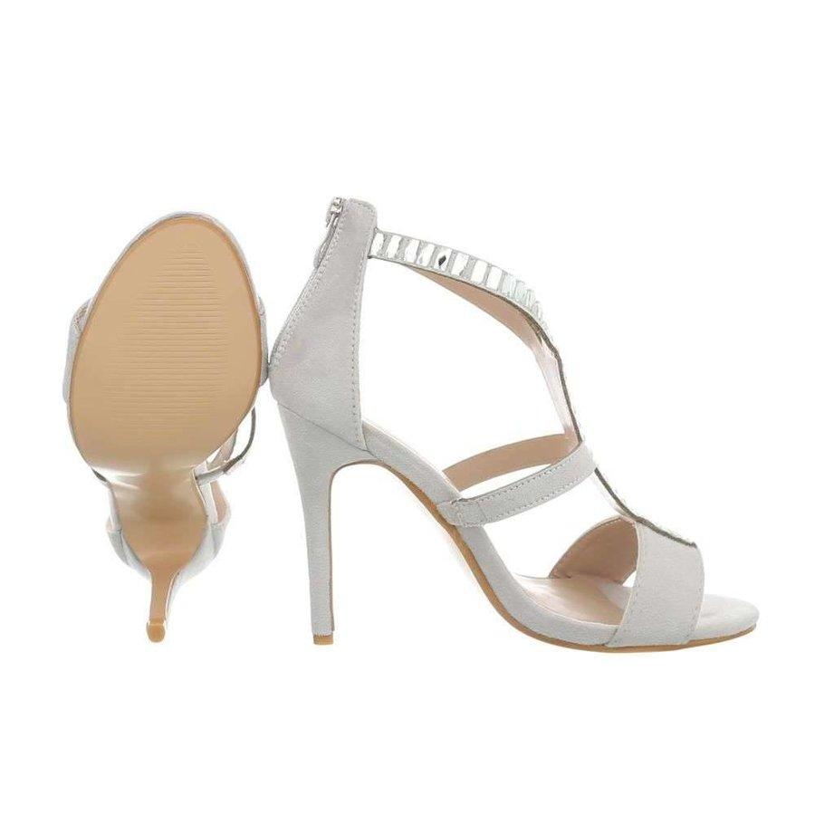 Damen High Heels mit Steinen - grau