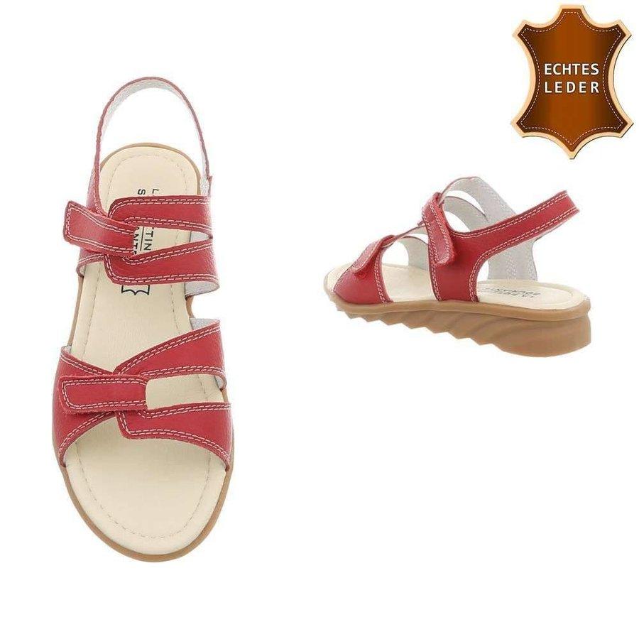 Damen Sandalen - rotes Leder