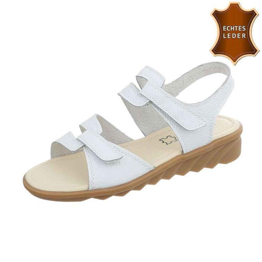 Damen Sandalen - weißes Leder