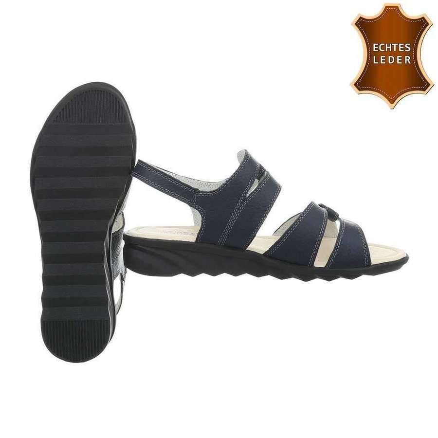 Damen Sandalen - blaues Leder