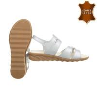 Damen Sandalen - Silber Leder