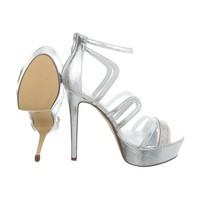 Damen High Heels mit Peeptoe - Silber