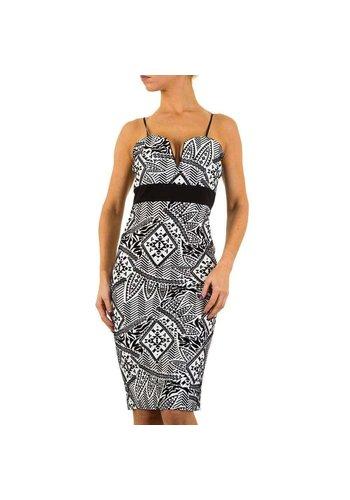 EVITA GOLD Damen Kleid - schwarz / weiß
