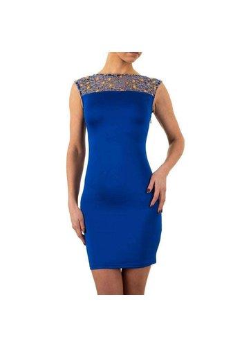 EVE SEDUIRE Damen Kleid mit gesticktem Oberteil - blau