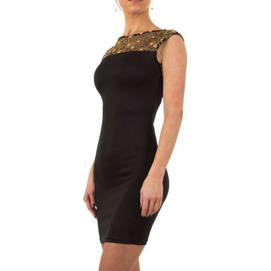 Damen Kleid mit gesticktem Oberteil - schwarz