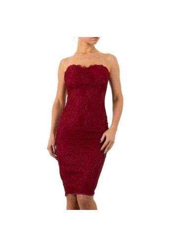MARC ANGELO Strapless kante dames jurk - wijnrood