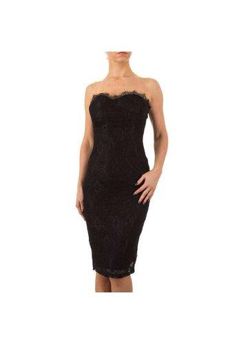 MARC ANGELO Strapless kanten dames jurk  - zwart