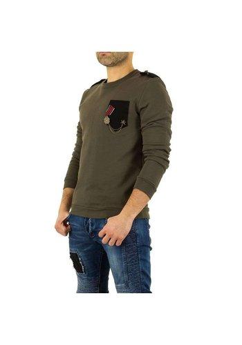 UNIPLAY Heren sweater met medaille - khaki
