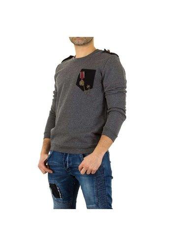 UNIPLAY Heren sweater met medaille - grijs