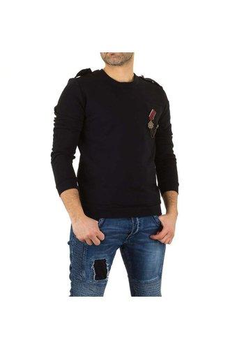 UNIPLAY Heren sweater met medaille - zwart
