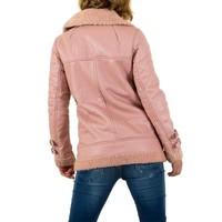 Fette Damenjacke - rosa Lederoptik